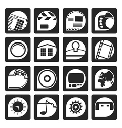 Black internet computer and mobile phone icons vector
