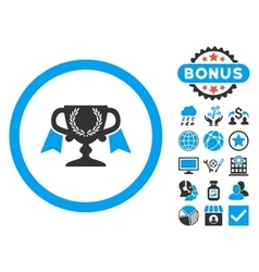 Award cup flat icon with bonus vector