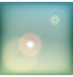 Vintage sky background with sun flare - blue and vector image