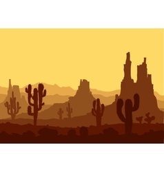 Sunset in stone desert with cactuses vector