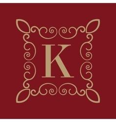 Monogram letter k calligraphic ornament gold vector