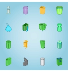 Trash cans icons set cartoon style vector