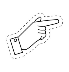 male hand pointed cutted line vector image