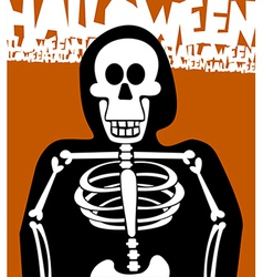 Halloween skeleton greeting card vector