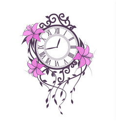 lily flowers and clock vector image