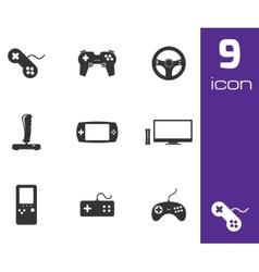 black video game icons set vector image