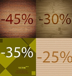 30 35 25 icon set of percent discount on abstract vector