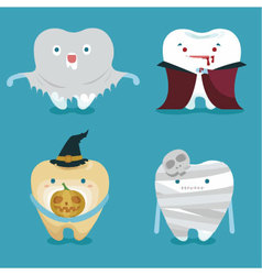 Halloween concept of teeth set vector