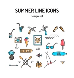 Summer line icon set beach and sea resort vector