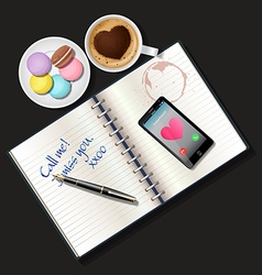 Booklet and mobile phone with coffee and macaroons vector