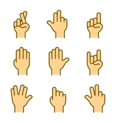 Hands icons set on white background vector