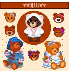 Set of brown Teddy bears father mother and baby vector image