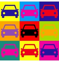 Car sign pop-art style icons set vector