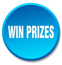 Win prizes blue round flat isolated push button vector