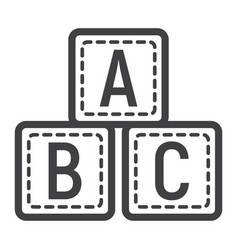 Abc blocks line icon alphabet cubes and education vector