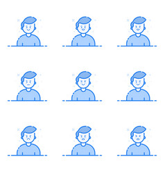 blue icons in flat line vector image vector image