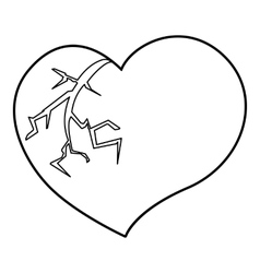 Broken heart icon outline style vector image