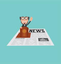 Businessman speaking on podium in financial news vector