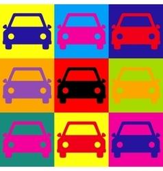 Car sign pop-art style icons set vector