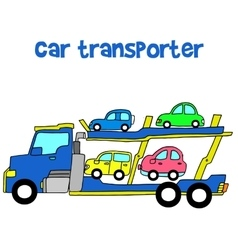 Car transporter of art vector