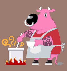 Chef cow cartoon vector