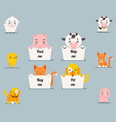 Cute little beggar animals help cat dog pig cow vector