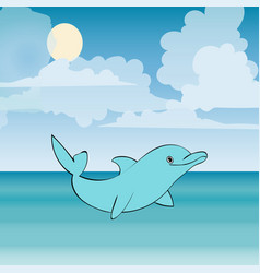 Dolphin sea animal beautiful landscape vector