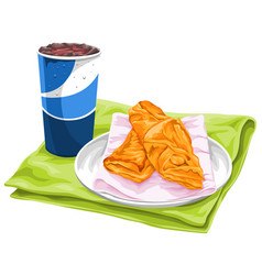 Fresh pastries with pepsi vector