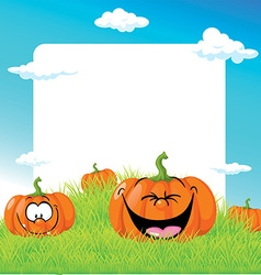 Funny with pumpkin on green grass - frame il vector