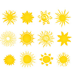 Hand drawn set of different suns icons vector