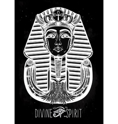 Hand-drawn vintage tattoo art of pharaoh vector image