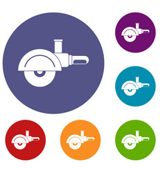 High speed cut off machine icons set vector