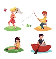 Kid chasing buttterflies fishing kayaking and vector image