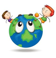 Kids on a earth globe vector