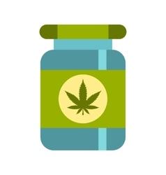 Medical marijua bottle icon flat style vector image