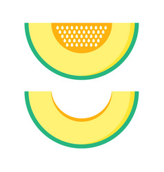 melon slice with and without seeds vector image