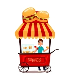Mobile retro shop with burgers vector