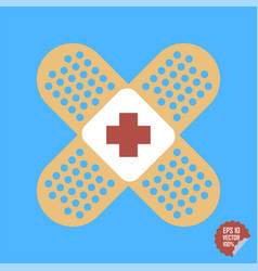 Patch medical flat with red cross adhesive band vector
