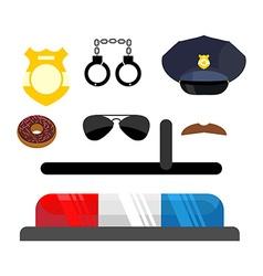 Police icons set Symbols policeman Cop accessories vector image vector image