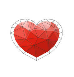 Red origami heart on white background vector