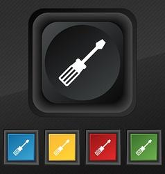 screwdriver icon symbol Set of five colorful vector image