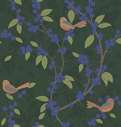 Seamless pattern of Blackthorn berries and birds vector image