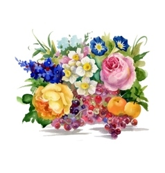 summer flowers and ripe fruits watercolor vector image vector image