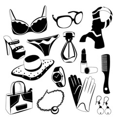 woman fashion icons vector image vector image