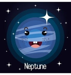 Neptune planet character space background vector