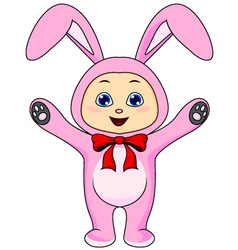 Cute baby in rabbit costume vector