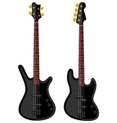 Modern electric bass guitars vector