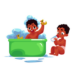 Black african american baby taking bath eating vector