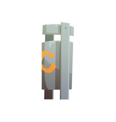 Metal public litter bin waste processing and vector