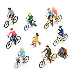 Bike riders character set vector